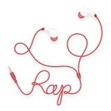 Kopfhörer, in der Ohrart rote Farb- und Pochentext gemacht vom Kabel Lizenzfreie Abbildung