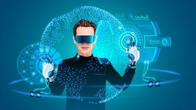 Kopfhörer der virtuellen Realität Mann, der mit HUD-Schnittstelle arbeitet System vergrößerte Wirklichkeit lizenzfreie abbildung