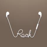Kopfhörer drahtlos und Fern-, earbud Art weiße Farbe und Felsentext gemacht vom Kabel Vektor Abbildung
