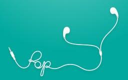 Kopfhörer-, Earbud-Art weiße Farbe und Knalltext gemacht vom Kabel Stock Abbildung