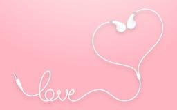 Kopfhörer-, Earbud-Art weiße Farbe und Liebestext gemacht vom Kabel Stock Abbildung