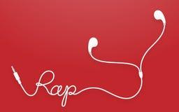 Kopfhörer-, Earbud-Art weiße Farbe und Pochentext gemacht vom Kabel Lizenzfreie Abbildung