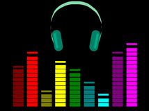 Kopfhörer mit Entzerrer Lizenzfreie Stockfotos