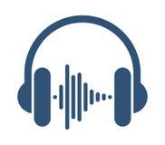 Kopfhörer mit Schallwelle Stockfoto