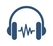 Kopfhörer mit Schallwelle Lizenzfreies Stockfoto