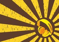 Kopfhörer-Retro- Hintergrund Lizenzfreies Stockfoto