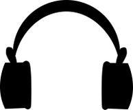 Kopfhörer-schwarze Ikone Stockbilder