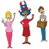 Kopfhörer-tragende Betreiber-Wahltag-Abstimmungskarikatur Stockfotografie