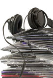 Kopfhörer und cd Ansammlung Stockbilder