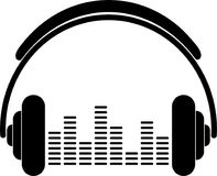 Kopfhörer und Entzerrer-, Musik- und Tonaufkleberaufkleber Stockfotografie