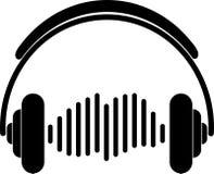 Kopfhörer und Entzerrer-, Musik- und Tonaufkleberaufkleber Stockfotos
