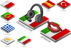 Kopfhörer und Mund auf der Tastenmarkierungsfahne Stockbild