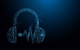 Kopfhörer und Schallwellen bilden Linien, Dreiecke und Partikelartdesign stock abbildung