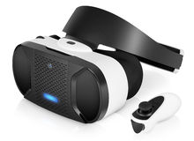 Kopfhörer VR-virtueller Realität mit Gamecontroller Stockbild