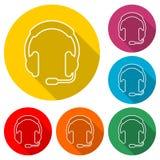 Kopfhörerikone, Farbikone mit langem Schatten Lizenzfreie Stockbilder