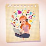 Kopfhörerlaptoprothaarigemädchenbriefpapier-Karikaturillustration Lizenzfreie Stockfotos