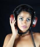 Kopfhörermädchen Stockbilder