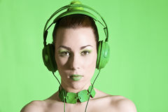Kopfhörerschönheit Stockfotos
