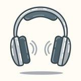 Kopfhörer in der flachen Art Stockfotos