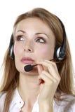 Kopfhörer-Geschäfts-Mädchen Lizenzfreie Stockbilder