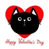 Kopfikone der schwarzen Katze Rotes Herz Nette lustige Zeichentrickfilm-Figur Glückliche Valentinsgrußtagesgrußkarte Trauriges Ge Lizenzfreies Stockfoto