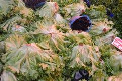 Kopfsalat-gelockte Bilder verkauften im Markt für die Herstellung von Salaten Lizenzfreies Stockfoto