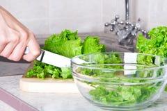 Kopfsalat mit Messer Stockfotografie