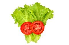 Kopfsalat mit Tomatenrahmen stockbild