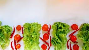 Kopfsalat-Tomaten-Paprikas lokalisieren auf weißem Hintergrund lizenzfreies stockfoto