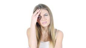 Kopfschmerzen, Frustration, Spannung, deprimierte junge Frau Lizenzfreie Stockfotos