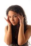 Kopfschmerzen am jungen Mädchen lizenzfreie stockbilder