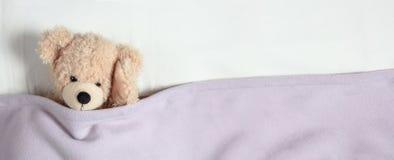 Kopfschmerzen, Schlaflosigkeit Netter Teddybär im Bett, seinen Kopf halten, Fahne, Kopienraum stockbilder
