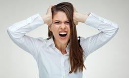 Kopfschmerzen und Krise mit Druck, welcom zum großen Geschäft lizenzfreie stockbilder