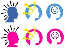 Kopfschmerzen und Migränen lizenzfreie abbildung