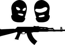 Kopfschutz und Maschinengewehr Stockfotos
