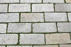 Kopfsteine auf der Straße mit Gras zwischen ihnen Lizenzfreies Stockfoto
