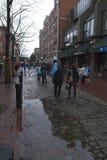 Kopfsteinstraßen von Salem Massachusetts in thee Regen stockfoto