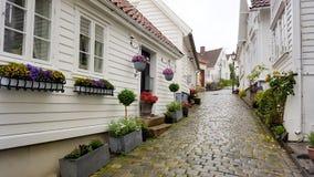 Kopfsteinstraße in Stavanger, Norwegen Stockfotos