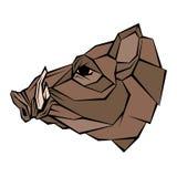 Kopfvektorart des wilden Ebers flach geometrisch Stockfotos