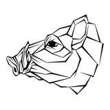 Kopfvektorart des wilden Ebers geometrisch Stockbilder