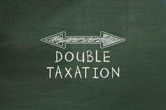 Kopia arrowed linię pokazuje Dwoistego opodatkowania pojęcie na chalkboard zdjęcie royalty free
