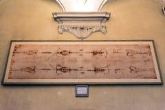 Kopia av det heliga omslaget i Turin, Italien Royaltyfri Foto