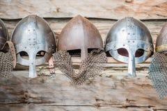 Kopia av medeltida en krigareViking hjälmar Royaltyfri Foto