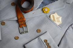 Kopia breasted guzika kostium, popielata szkockiej kraty tekstura obraz stock