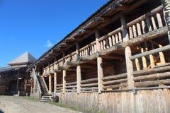 Kopia drewniana miasto ściana fotografia stock