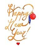 Kopia för lyckligt nytt år för vattenfärgjulillustrationer Tema för nytt år för vinter vektor illustrationer