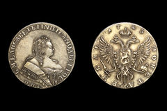Kopia moneta z Rosyjską imperatorową Elizabeth Zdjęcie Royalty Free