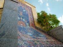 Kopia orientalny Sheikh Safi dywan od Murano ceramiki w Heydar Aliyev parku w Kijów i szkła obrazy royalty free