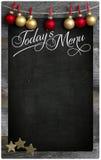 Kopia S för svart tavla för meny för restaurang för ` s för glad jul i dag trä royaltyfri fotografi