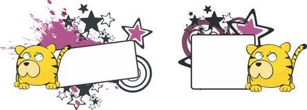 Kopia space1 för stil för tigertecknad filmboll vektor illustrationer